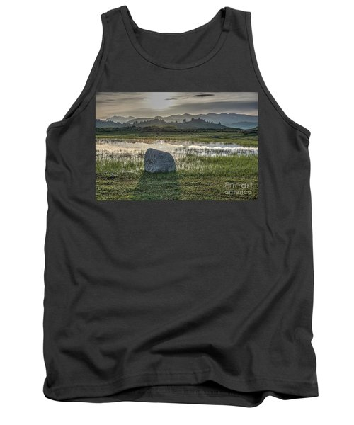 Tank Top featuring the photograph A Yellowstone Sunrise And Hazy Morning Ridges by Bill Gabbert