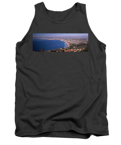 Aerial View Of A City At Coast, Santa Tank Top by Panoramic Images