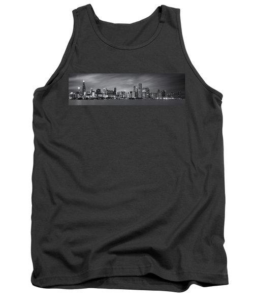 Chicago Skyline At Night Black And White Panoramic Tank Top by Adam Romanowicz