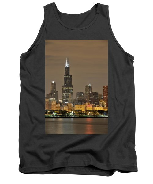 Chicago Skyline At Night Tank Top by Sebastian Musial
