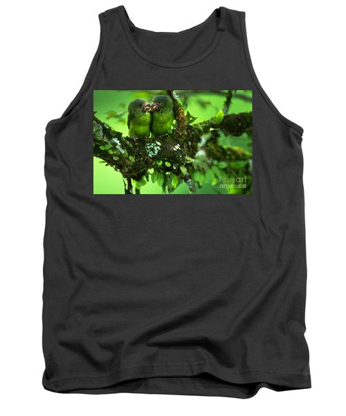 Cobalt-winged Parakeets Tank Top by Art Wolfe