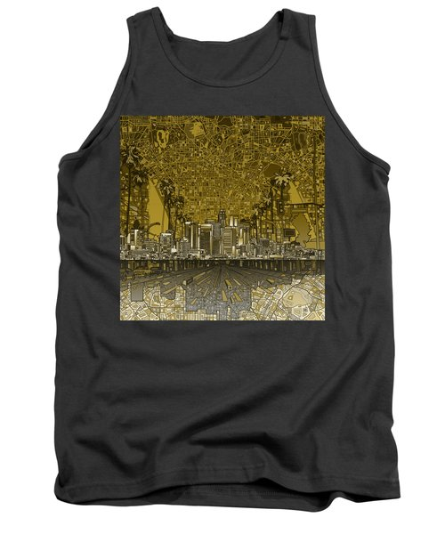 Los Angeles Skyline Abstract 4 Tank Top by Bekim Art