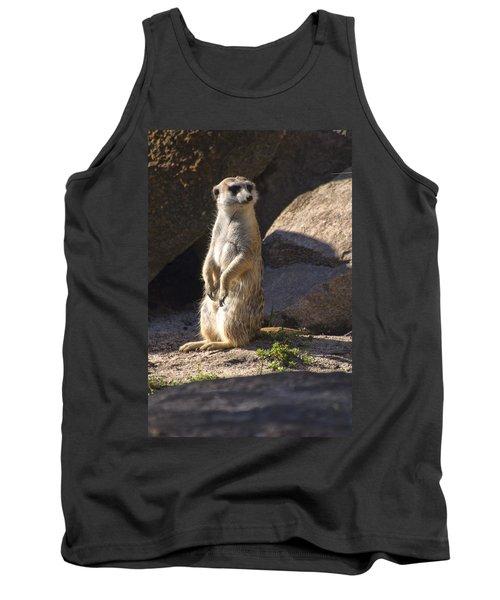 Meerkat Looking Left Tank Top by Chris Flees