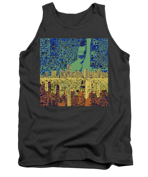 Miami Skyline Abstract 7 Tank Top by Bekim Art