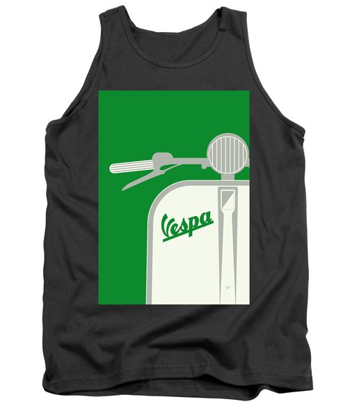 My Vespa - From Italy With Love - Green Tank Top by Chungkong Art