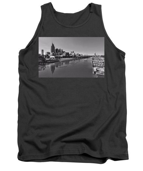 Nashville Skyline In Black And White At Day Tank Top by Dan Sproul