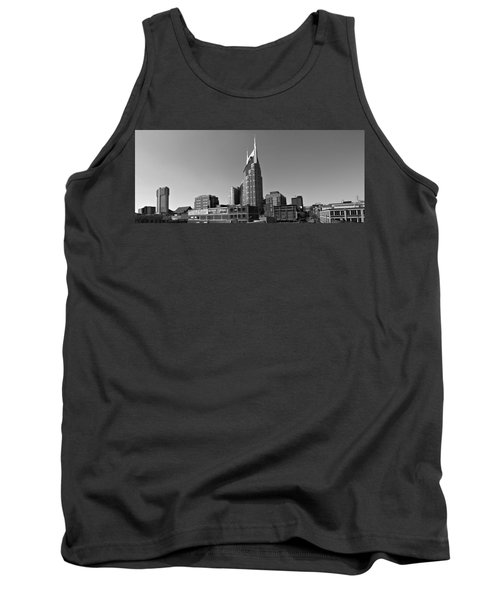 Nashville Tennessee Skyline Black And White Tank Top by Dan Sproul
