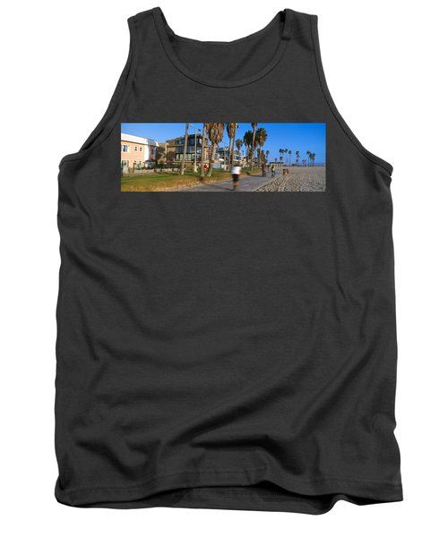 People Riding Bicycles Near A Beach Tank Top by Panoramic Images