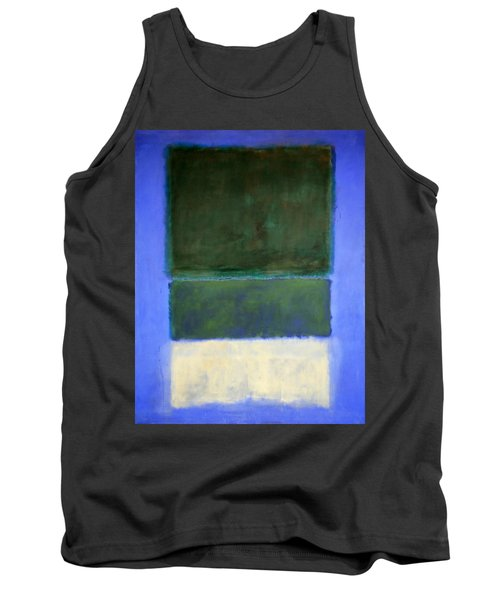 Rothko's No. 14 -- White And Greens In Blue Tank Top by Cora Wandel