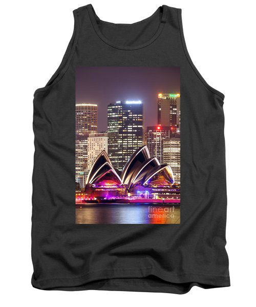 Sydney Skyline At Night With Opera House - Australia Tank Top by Matteo Colombo