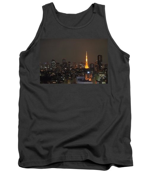 Tokyo Skyline At Night With Tokyo Tower Tank Top by Jeff at JSJ Photography