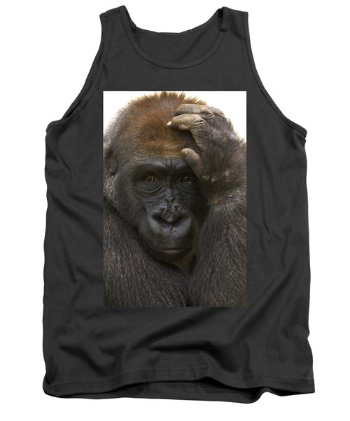 Western Lowland Gorilla With Hand Tank Top by San Diego Zoo