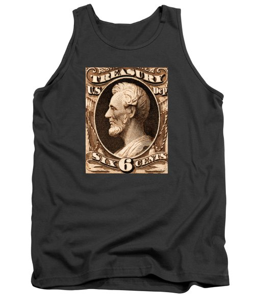 1875 Abraham Lincoln Treasury Department Stamp Tank Top by Historic Image