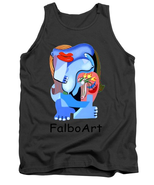 Blue Nude With Tulips Tank Top by Anthony Falbo