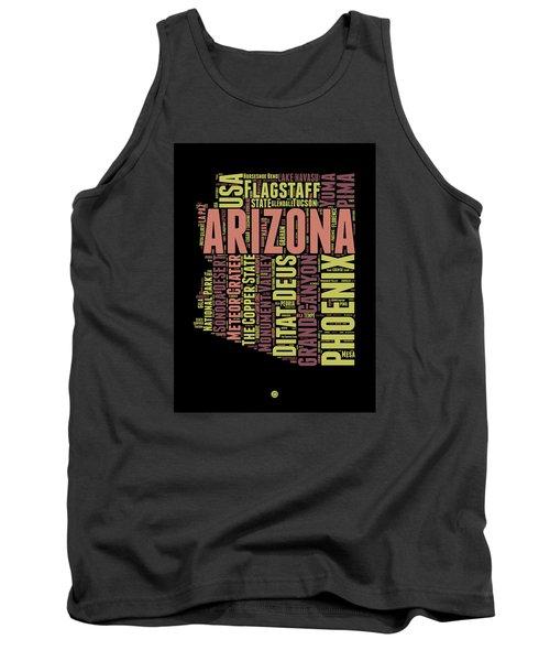Arizona Word Cloud Map 1 Tank Top by Naxart Studio