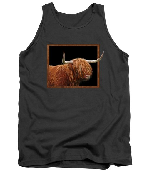 Bad Hair Day - Highland Cow Square Tank Top by Gill Billington