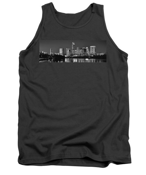 Austin Skyline At Night Black And White Bw Panorama Texas Tank Top by Jon Holiday