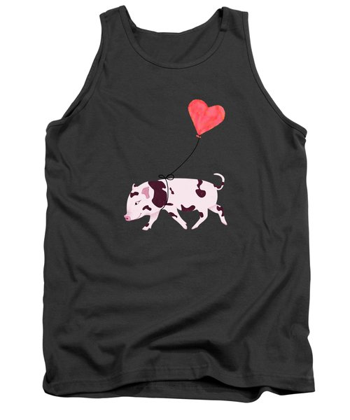 Baby Pig With Heart Balloon Tank Top by Brigitte Carre