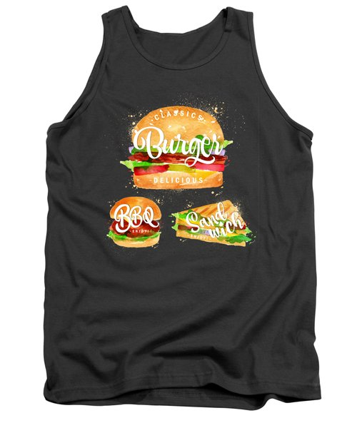 Black Burger Tank Top by Aloke Design