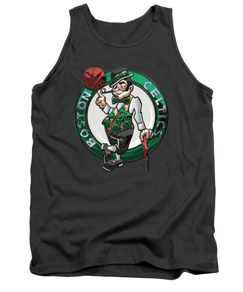 Boston Celtics - 3 D Badge Over Flag Tank Top by Serge Averbukh