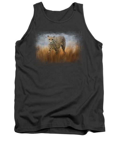 Cheetah In The Field Tank Top by Jai Johnson