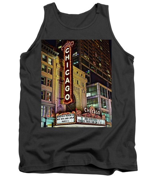 Chicago Theater Aglow Tank Top by Frozen in Time Fine Art Photography