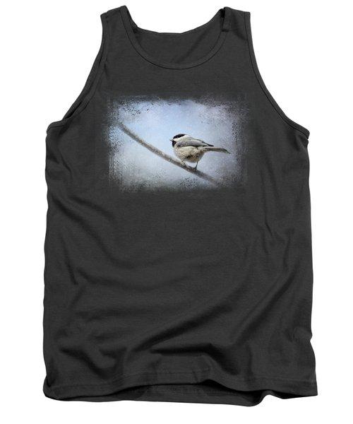Chickadee In The Snow Tank Top by Jai Johnson
