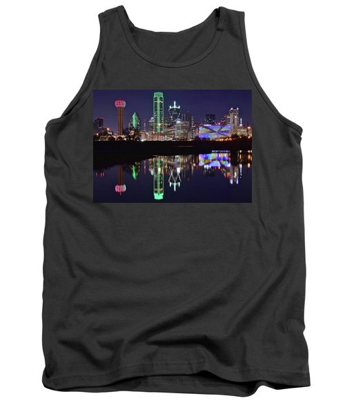 Dallas Reflecting At Night Tank Top by Frozen in Time Fine Art Photography