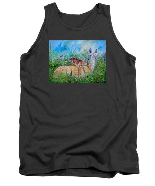 Deer Mom And Babe 24x18x1 Oil On Gallery Canvas Tank Top by Manuel Lopez