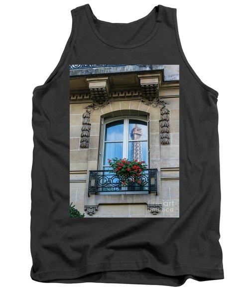 Eiffel Tower Paris Apartment Reflection Tank Top by Mike Reid