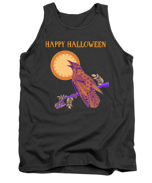 Halloween Crow And Moon Tank Top by Tammy Wetzel
