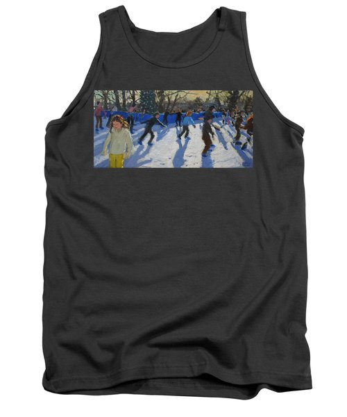 Ice Skaters At Christmas Fayre In Hyde Park  London Tank Top by Andrew Macara