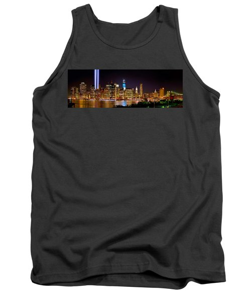 New York City Tribute In Lights And Lower Manhattan At Night Nyc Tank Top by Jon Holiday