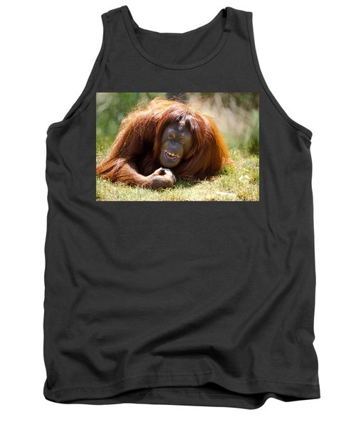 Orangutan In The Grass Tank Top by Garry Gay