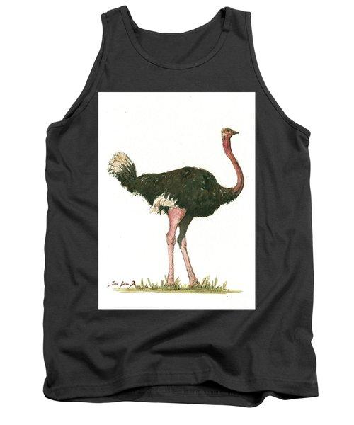 Ostrich Bird Tank Top by Juan Bosco
