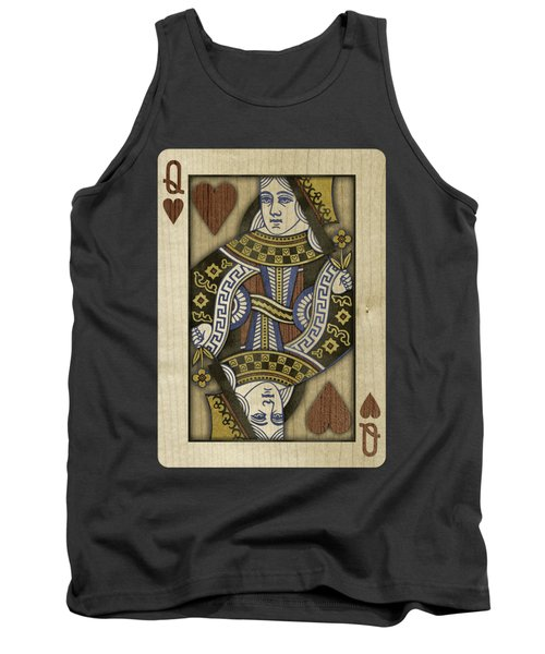 Queen Of Hearts In Wood Tank Top by YoPedro