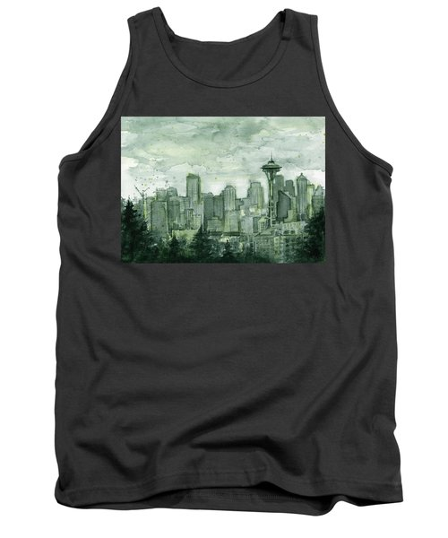 Seattle Skyline Watercolor Space Needle Tank Top by Olga Shvartsur