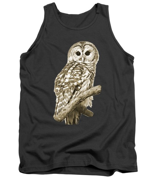 Sepia Owl Tank Top by Christina Rollo