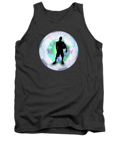 Soccer Player Posing With Ball Soccer Background Tank Top by Elaine Plesser