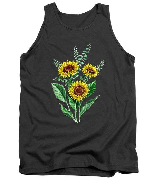 Three Playful Sunflowers Tank Top by Irina Sztukowski