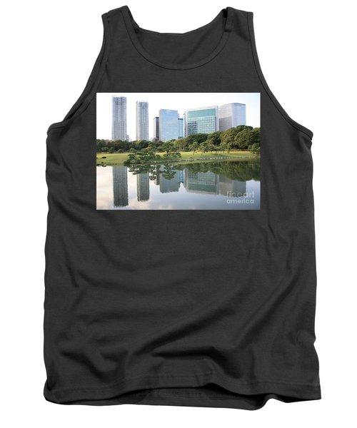 Tokyo Skyline Reflection Tank Top by Carol Groenen