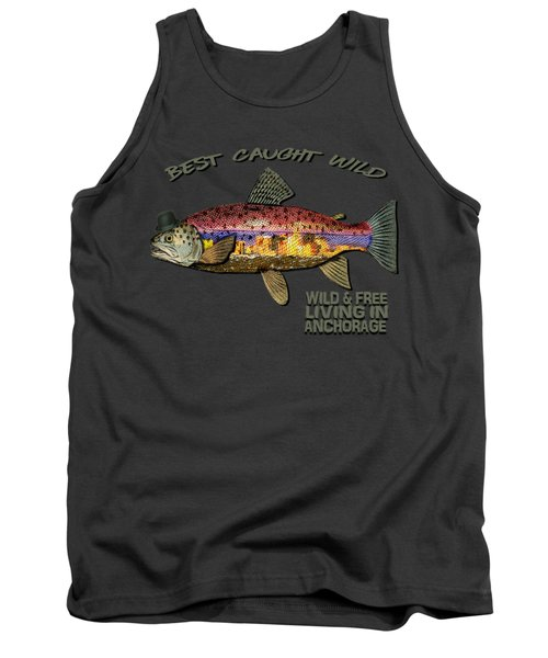 Wild And Free In Anchorage-trout With Hat Tank Top by Elaine Ossipov