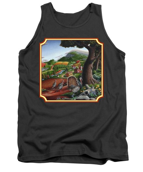 Wild Turkeys In The Hills Country Landscape - Square Format Tank Top by Walt Curlee