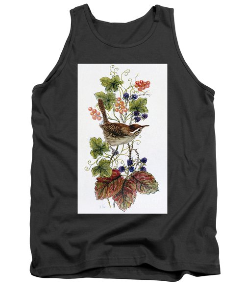 Wren On A Spray Of Berries Tank Top by Nell Hill