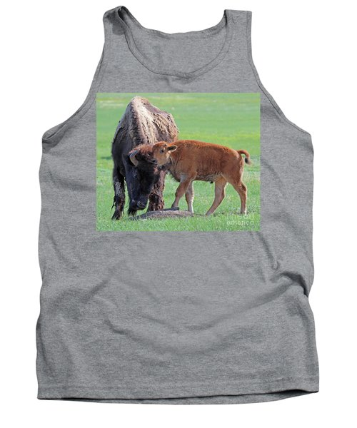 Tank Top featuring the photograph Bison With Young Calf by Bill Gabbert