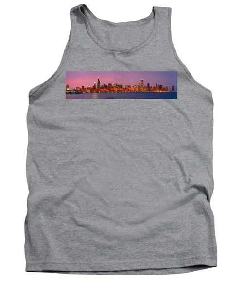 Chicago Skyline At Dusk 2008 Panorama Tank Top by Jon Holiday