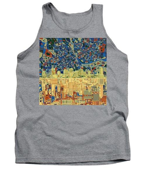 Nashville Skyline Abstract 9 Tank Top by Bekim Art