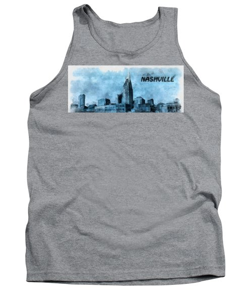 Nashville Tennessee In Blue Tank Top by Dan Sproul