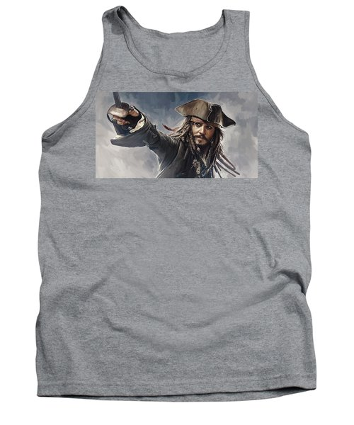 Pirates Of The Caribbean Johnny Depp Artwork 2 Tank Top by Sheraz A
