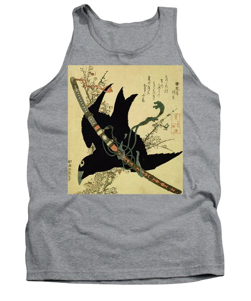 The Little Raven With The Minamoto Clan Sword Tank Top by Katsushika Hokusai